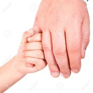 11313508-child-holds-father-hand-isolated-on-a-white-background-Stock-Photo