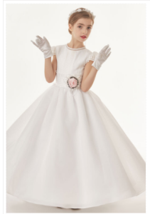 Organza Ball Gown Cap Sleeves Bow(S) Floor Length Communion Dress-Buy NOW
