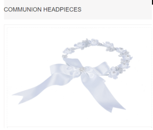 Pearl Beaded Flowers Clusters White Headdress Communion Headpiece With Bow Ribbon MODEL: F1074W $26.98 Click to buy